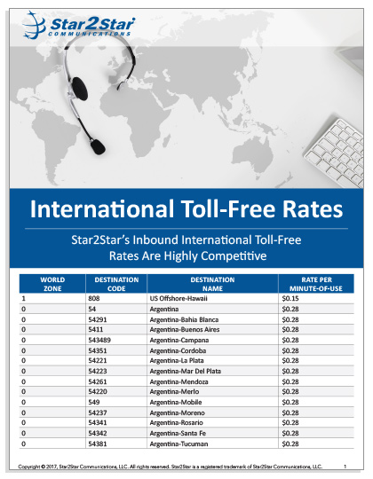 International Toll-Free Rates