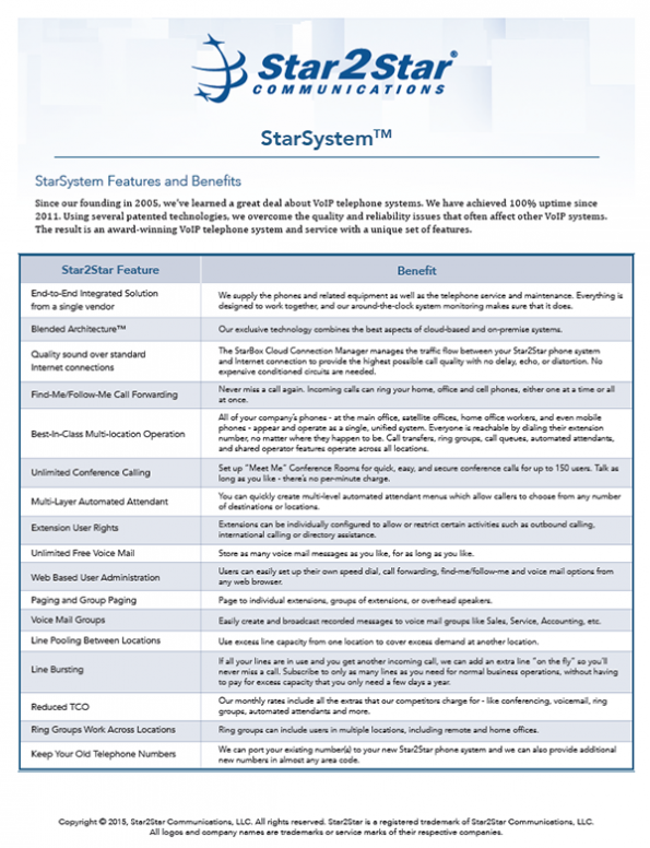 StarSystem® Features And Benefits
