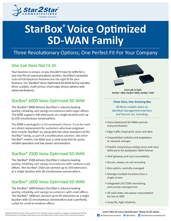 StarBox® Voice Optimized SD-WAN Family